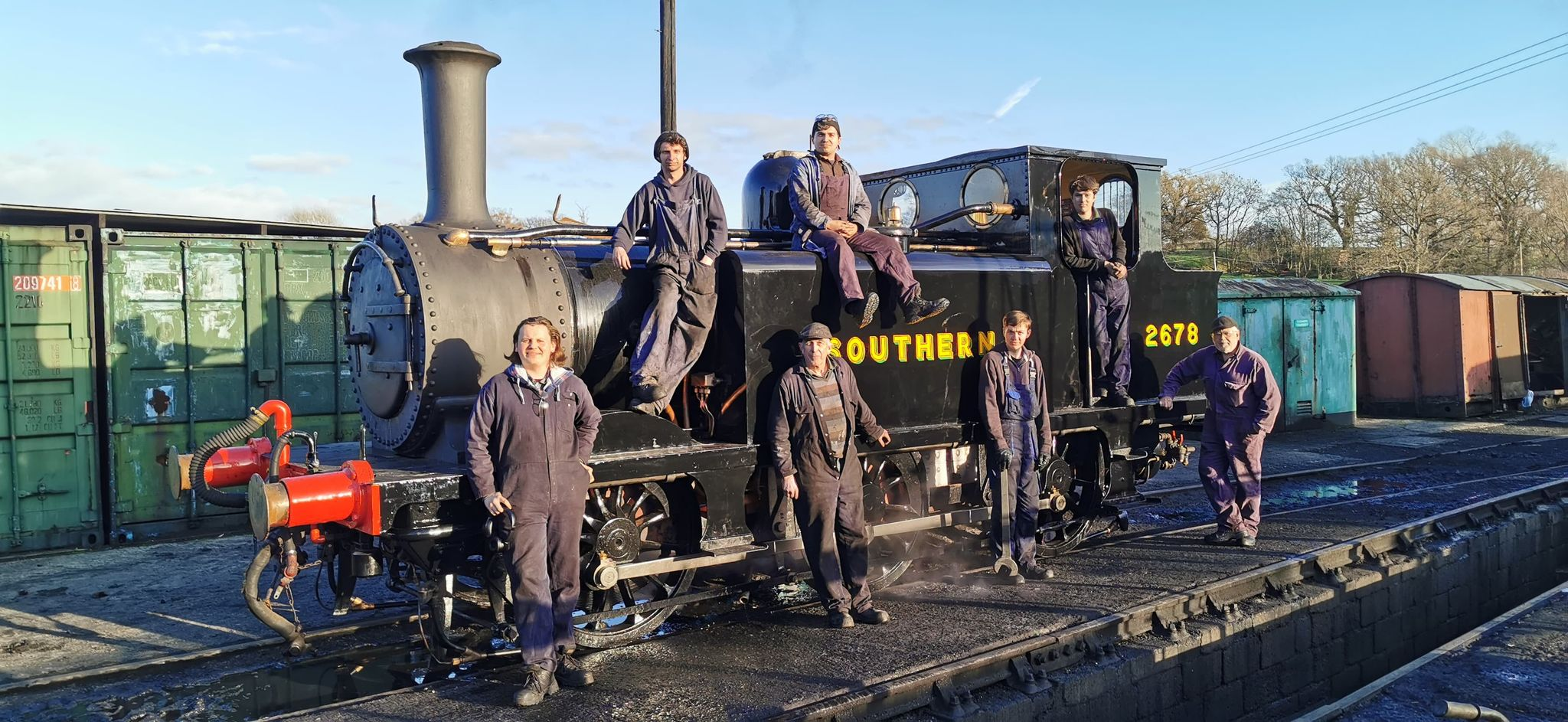 people and steam engine